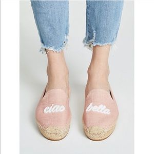 Soludos NWT Ciao Bella Pink & Tan Canvas Slippers